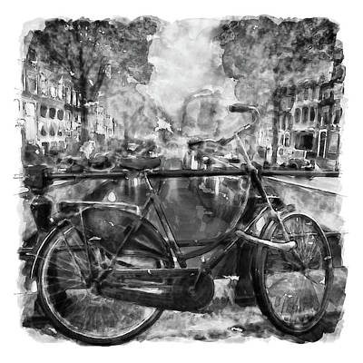 Amsterdam Bicycle Black And White Poster