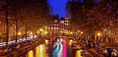 Poster featuring the photograph Amsterdam By Night by Barry O Carroll