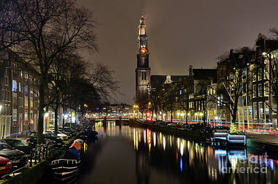 Amsterdam By Night - Prinsengracht Poster by Carlos Alkmin