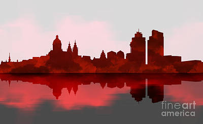 Amsterdam Skyline - Night Red Poster by Prar Kulasekara