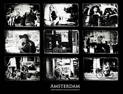 Amsterdammers And Strangers. Amsterdam By Jenny Rainbow Poster by Jenny Rainbow
