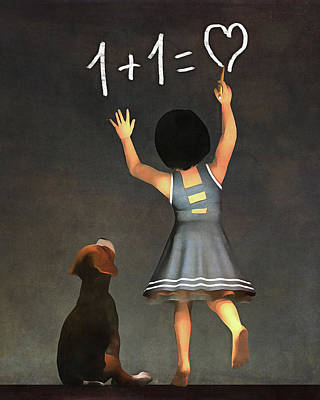 Poster featuring the painting Amy Educating Buddy Math by Jan Keteleer
