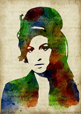 Amy Winehouse Watercolor Poster by Mihaela Pater