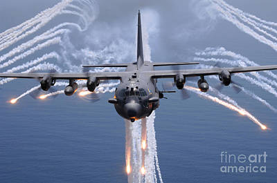 An Ac-130h Gunship Aircraft Jettisons Poster