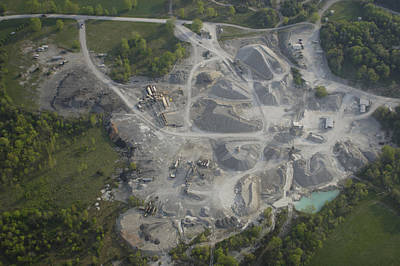 An Aerial View Shows A Limestone Quarry Poster