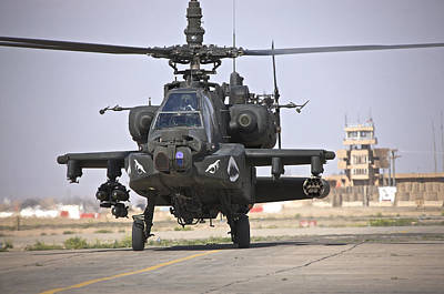 An Ah-64 Apache Helicopter Returns Poster by Terry Moore