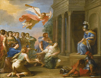 An Allegory Of The Victory Of Peace Over War. Peace And Justice Presenting The Nine Muses To Minerva Poster by French School
