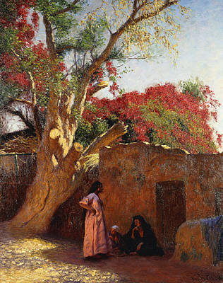An Arab Family Outside A Village Poster