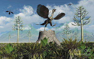 An Archaeopteryx Takes Flight From Atop Poster