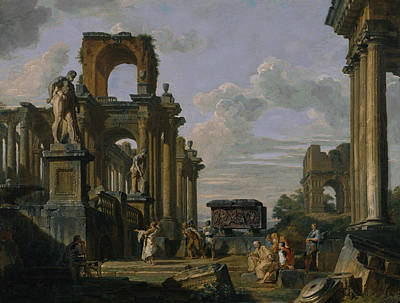 An Architectural Capriccio Of The Roman Forum With Philosophers And Soldiers Poster by Giovanni Paolo Panini