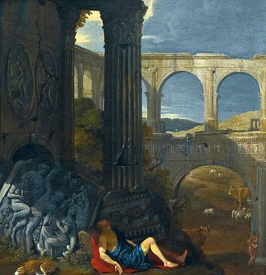 An Architectural Capriccio With Ancient Ruins Poster by Jean Lemaire