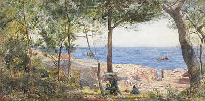 An Artist Painting By The Sea Poster by John William Inchbold