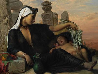 An Egyptian Fellah Woman With Her Baby Poster by Elisabeth Jerichau-Baumann