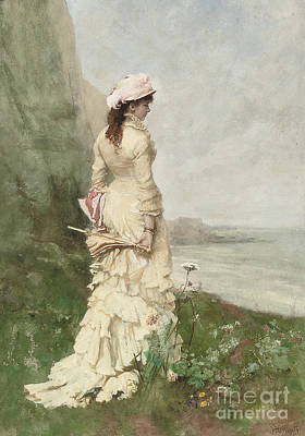 An Elegant Lady By The Sea Poster by Ferdinand Heilbuth