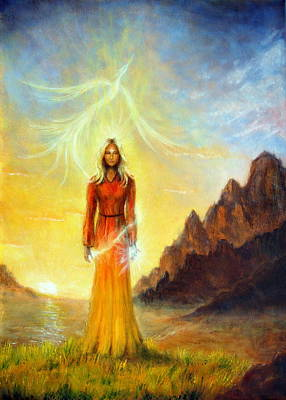 An Enchanting Mystical Priestess With A Sword Of Light In A Land Poster by Jozef Klopacka