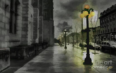 Poster featuring the mixed media An Evening In Paris by Jim  Hatch