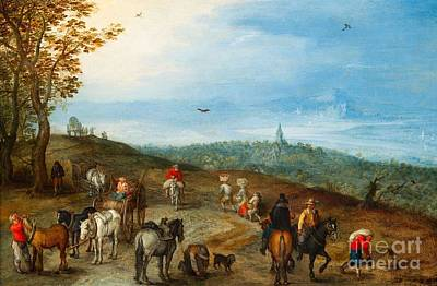 An Extensive Landscape With Travellers On A Road Poster by MotionAge Designs