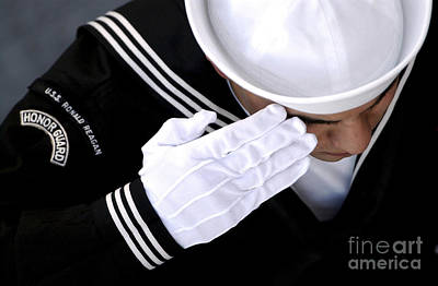An Honor Guard Member Renders A Salute Poster by Stocktrek Images