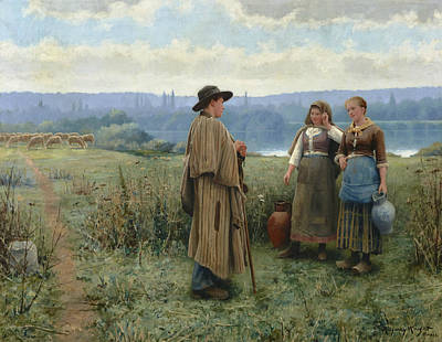 An Idle Moment Poster by Daniel Ridgway Knight