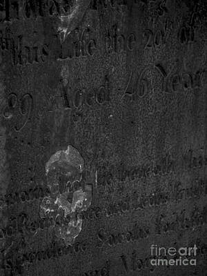 An Image Of Death On A Headstone Poster by James Aiken