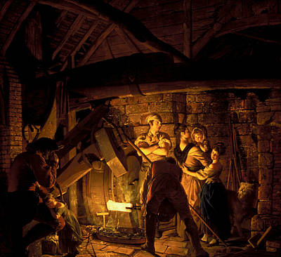 An Iron Forge Poster by Joseph Wright