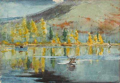 Poster featuring the painting An October Day by Winslow Homer