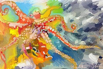 An Octopus Lunch Inspired This Painting Of An Octopus  Poster
