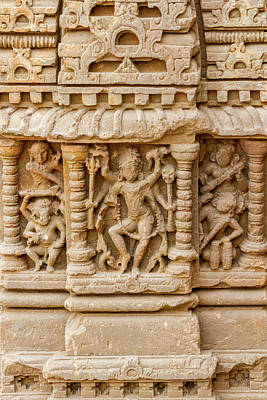 An Old Carving Of Shiva At Abhaneri Poster