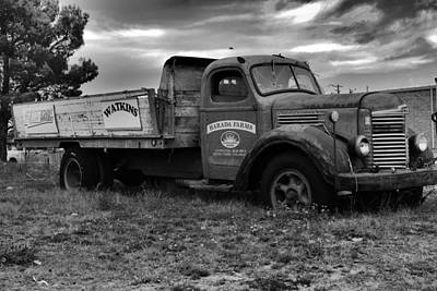 An Old Farm Truck Black And White Poster