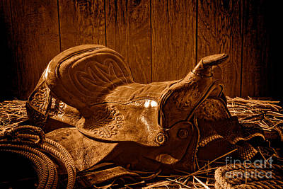 An Old Saddle - Sepia Poster by Olivier Le Queinec