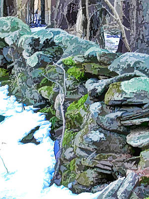 An Old Stone Wall At Winter 2 Poster