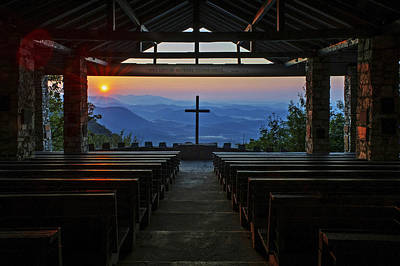 An Outdoor Mountain Chapel   Symmes Chapel Aka Pretty Place  Greenville Sc Poster