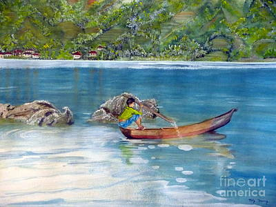 Poster featuring the painting Anak Dan Perahu by Melly Terpening