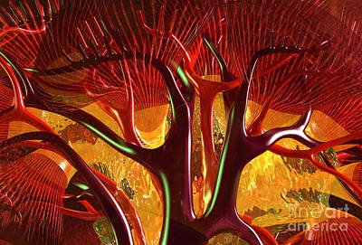 Anatomy Abstract #1 Kidney Poster by Russell Kightley