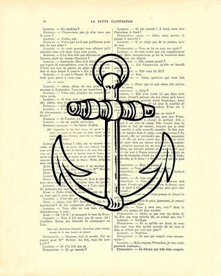 Anchor Black Lines Old School Illustration Poster by Madame Memento