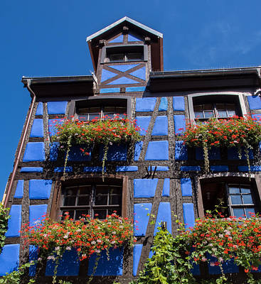 Ancient Alsace Auberge In Blue Poster