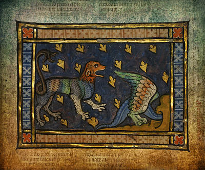 Ancient Celtic Art Lion With Dragon Poster by Terry Fleckney