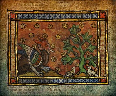 Ancient Dragon With Doves Celtic Art Poster by Terry Fleckney
