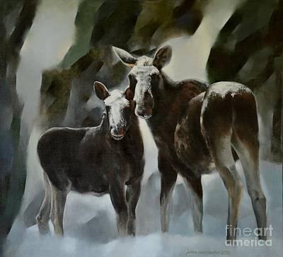 Ancient Elks Poster by Jukka Nopsanen