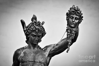 Ancient Style Sculpture Of Perseus With The Head Of Medusa In Loggia Dei Lanzi In Florence, Italy Poster by Michal Bednarek