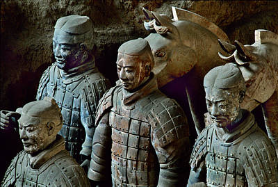 Ancient Terracotta Soldiers Lead Horses Poster by O. Louis Mazzatenta