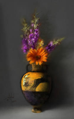 Ancient Vase And Flowers Poster