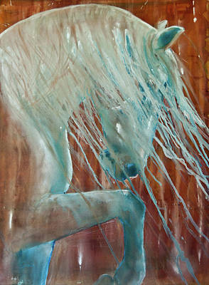 Poster featuring the painting Andalusian Stallion by Jani Freimann