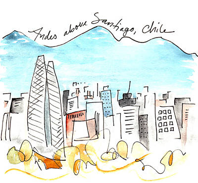 Andes Above Santiago Poster