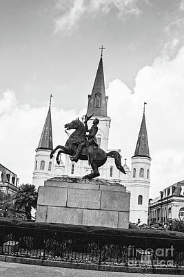 Andrew Jackson - Jackson Square New Orleans Bw Poster