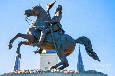 Andrew Jackson Statue - Nola- Impasto Poster by Kathleen K Parker