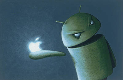 Android Vs Apple Poster by Jasper Oostland