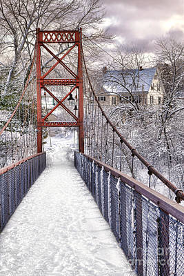 Androscoggin Swinging Bridge And Yellow House In Winter Poster by Olivier Le Queinec