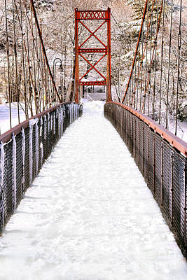 Androscoggin Swinging Bridge In Snow Poster by Olivier Le Queinec