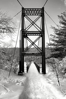 Androscoggin Swinging Bridge In Winter Poster by Olivier Le Queinec